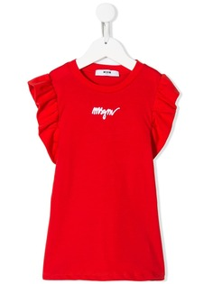 Msgm Kids футболка с вышитым логотипом и оборками