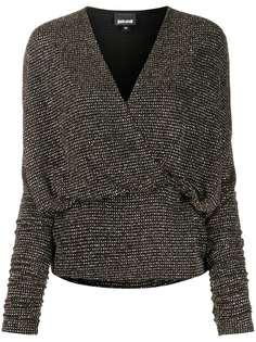 Just Cavalli блузка с эффектом металлик и запахом