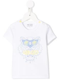 Kenzo Kids футболка с принтом Tiger и кнопками на плече