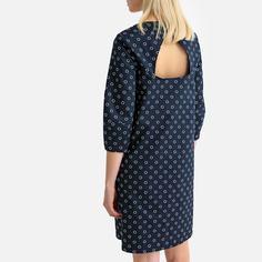 Платье-футляр с принтом в горошек до колен, рукава 3/4 La Redoute Collections
