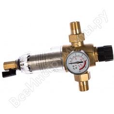 Фильтр 3/4, для холодной воды, с прямой промывкой, с манометром, d65 гейзер бастион 7508075233 32680