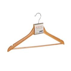 Вешалка Eisho деревянная с плечиками и перекладиной для брюк цв натуральный