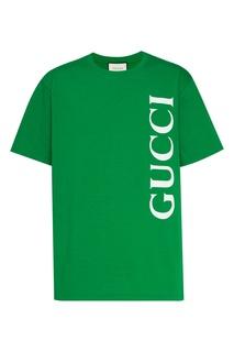 Зеленая футболка с белым логотипом Gucci