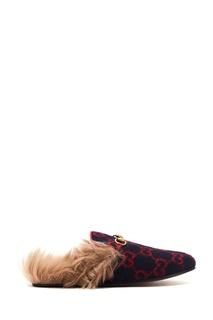 Красно-синие слиперы из шерсти и меха Princetown GG Gucci