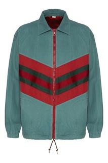 Мятно-зеленая куртка с контрастными шевронами Gucci