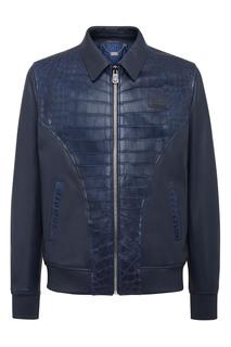 Синяя кожаная куртка Billionaire