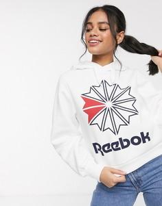 Белое флисовое худи с логотипом Reebok Classic-Белый