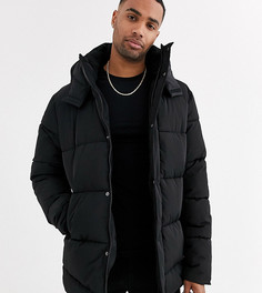 Черная дутая куртка с капюшоном ASOS DESIGN Tall-Черный