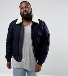 Темно-синяя куртка из ткани с добавлением шерсти и воротником из искусственного меха ASOS PLUS-Темно-синий