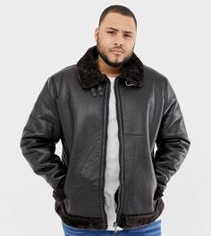 Темно-коричневая куртка-авиатор из искусственной кожи River Island Big & Tall-Коричневый