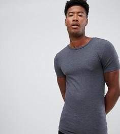 Серая обтягивающая футболка с круглым вырезом ASOS DESIGN Tall-Серый