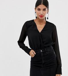 Черное фактурное боди с запахом Vero Moda Tall-Черный