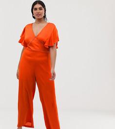 Оранжевый комбинезон с широкими штанинами и кружевной вставкой Lovedrobe