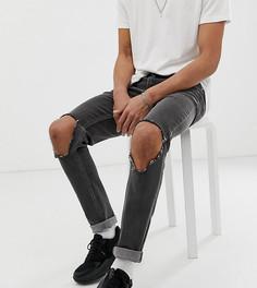 Черные джинсы скинни с дырками на коленях ASOS DESIGN Tall-Черный