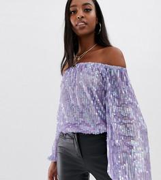 Фиолетовый фестивальный боди со спущенными плечами и пайетками ASOS DESIGN Tall