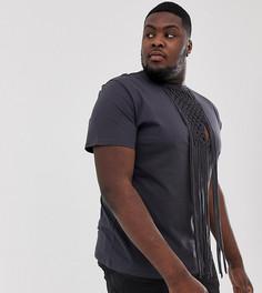 Черная свободная футболка с отделкой макраме ASOS DESIGN Plus Festival-Черный