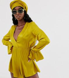 Ромпер насыщенного желтого цвета с расклешенными рукавами и глубоким вырезом спереди TTYA-Желтый Taller Than Your Average