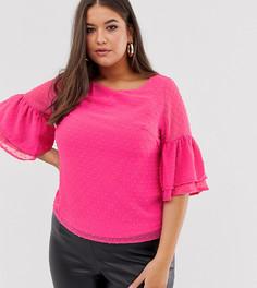 Блузка с расклешенными рукавами Lovedrobe-Розовый