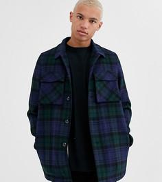 Темно-синяя куртка в клетку с добавлением шерсти и подкладкой из искусственного меха ASOS DESIGN Tall-Темно-синий