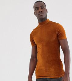 Обтягивающая футболка с высоким воротом из велюра в рубчик ASOS DESIGN Tall-Оранжевый