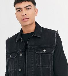 Черная джинсовая куртка без рукавов ASOS DESIGN Tall-Черный