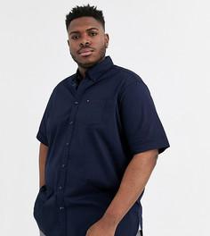 Темно-синяя рубашка из эластичного поплина с короткими рукавами и логотипом Tommy Hilfiger - Big & Tall-Темно-синий