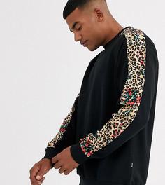 Черный свитшот с леопардовым принтом на вставках Only & Sons