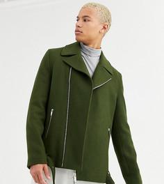Байкерская куртка с поясом цвета хаки с добавлением шерсти ASOS DESIGN Tall-Зеленый