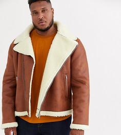 Светло-коричневая байкерская куртка из искусственной овчины ASOS DESIGN Plus-Светло-коричневый
