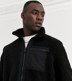Черная плюшевая куртка с нейлоновыми карманами ASOS DESIGN Tall-Черный