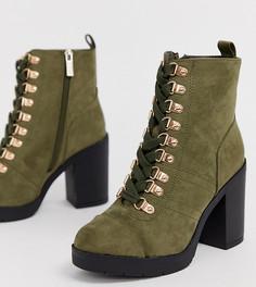 Ботинки цвета хаки для широкой стопы на шнуровке и каблуке River Island-Зеленый