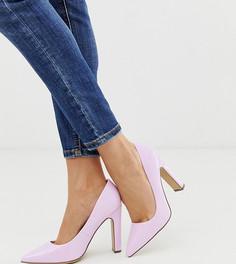 Сиреневые лакированные туфли-лодочки на блочном каблуке New Look-Фиолетовый