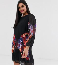 Свободное платье-туника с акварельным цветочным принтом Yumi Plus-Черный