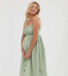 Льняной сарафан миди на бретельках и с пуговицами ASOS DESIGN Maternity-Зеленый