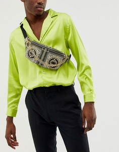 Черная сумка-кошелек через плечо с золотистой цепочкой и принтом в стиле барокко ASOS DESIGN-Черный