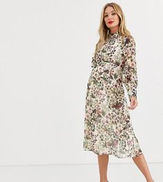 Кремовое платье миди с высоким воротом и сборками на манжетах Hope & Ivy Maternity-Кремовый