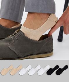 Набор из 7 пар невидимых носков ASOS DESIGN (черные/белые/песочные) - Скидка-Мульти
