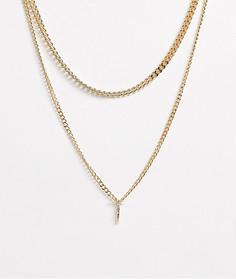 Ярусное ожерелье с подвесками ASOS DESIGN-Золотой
