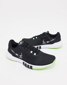 Черные кроссовки с камуфляжным логотипом в виде галочки Nike Training Flex Control-Черный
