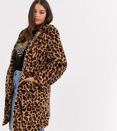 Длинная шуба из искусственного меха с леопардовым принтом Daisy Street Plus-Коричневый