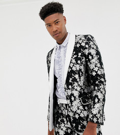 Приталенный жаккардовый пиджак-смокинг с монохромной цветочной отделкой ASOS EDITION Tall-Черный