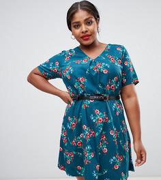 Платье с цветочным принтом Yumi Plus-Зеленый