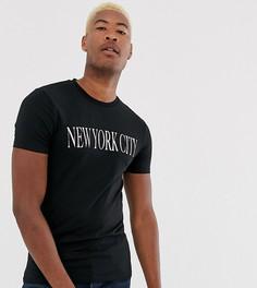 Эластичная приталенная футболка с принтом ASOS DESIGN Tall-Черный