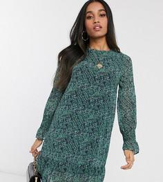 Зеленое платье А-силуэта с цветочным принтом и оборками Vero Moda Petite-Мульти