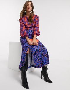 Платье миди с цветочным принтом, длинными рукавами и разрезом Closet London-Мульти