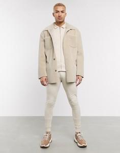 Бежевый спортивный костюм с курткой Харрингтон ASOS DESIGN