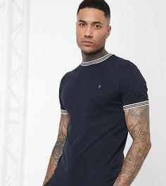 Темно-синяя футболка с контрастной окантовкой Farah-Темно-синий