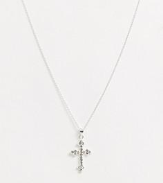 Серебряное ожерелье с крестом ASOS DESIGN-Серебряный