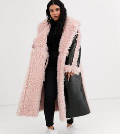 Черное/розовое виниловое пальто макси ASOS DESIGN Curve-Черный