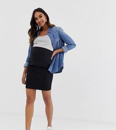 Черная облегающая мини-юбка для беременных Mamalicious-Черный Mama.Licious